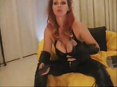 Leather porn movie with me showing on webcam my pussy
