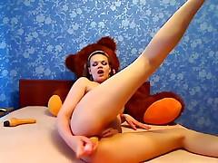 Naughty teen hottie uses her big dildo on webcam