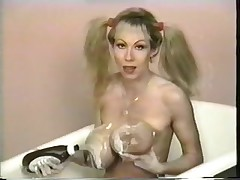 Hot smutty blonde wench takes bathroom in chocolate sauce and whipped cock juice