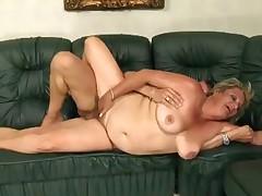 Unattractive blonde mature slut fucked on the couch