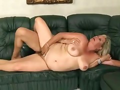 Unattractive blonde mature slut fucked on the couch