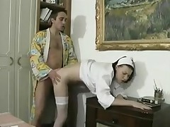 Vintage porn of an older guy fucking a French nurse