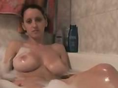 Busty Girl Masturbates In The Bath