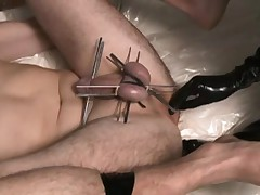 Mistress tortures her tied up sluts cock and balls