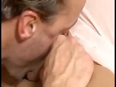 Brunette MILF gets a face full of creamy cum