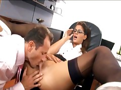 Bewitching secretary screwed in nylons and a garter
