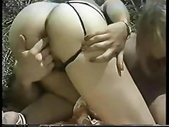 Public classic orgy with two hot babes and a lucky man
