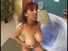 Sexy threesome with an old busty redhead MILF