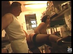 Teen French babe gets ravaged by an older lucky man