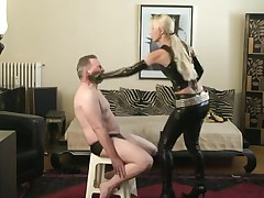 Slapped by Blond Latex Angel
