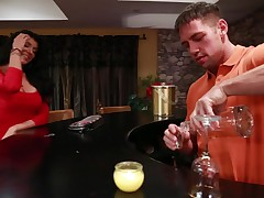 Breasty tattooed Romi Rain takes wang from her boyfriends son