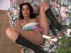 Hot and scrawny Arab girl dildoes her ass in solo porn