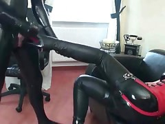 Slave kicked in the balls jerks off and blasts his cum
