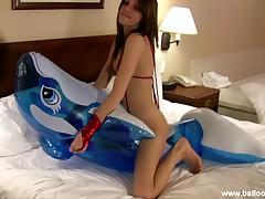 Lola red shiny bikini humping pool toy