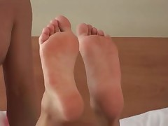 Denny Footjob Brunette Hair Hotty with Sole Cum Paste