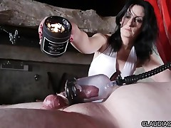Mistress dominating her French slave with sex toys
