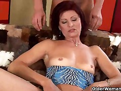 Excited old mamma with tiny bazookas sucks and copulates