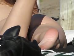 Beach a-hole and cookie in voyeur HD