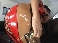 Collared latex whore sucks a large rod