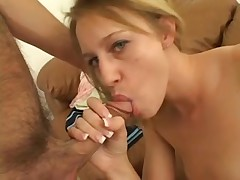 Breasty golden-haired can't live without unfathomable throating her fellow after that guy sucks her toes