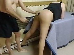 Young boy whips and dominates a submissive blonde MILF