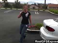 Stupid Gal Sucks Wang During Gripping Car Ride