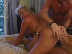 cute golden-haired woman double anal