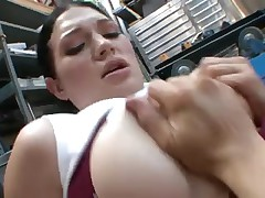 Big boobed lassie slammed hard in her pussy