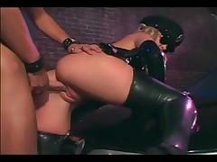 Female officer fucking in shiny latex underware