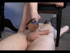 Blonde Dominatrix-Bitch hot footjob - villein cleans up