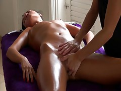 Lesbian cunt is masturbated in sexy nude massage movie