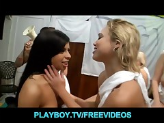 Group of marvelous blondes undress for an fuckfest at a toga party