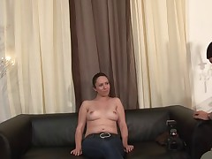 Brunette French babe is interviewed before hot sex
