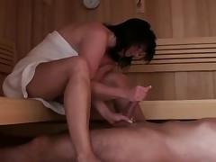 Footjob in sauna