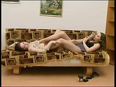 These lesbians get turned on by stockings