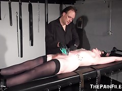 Slavery rack fetish and non-professional s&m of tattooed Good
