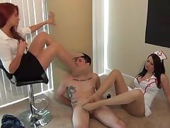 Nurse and Doctor give Nylon Footjob