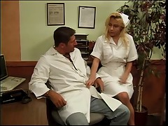 Large pantoons golden-haired nurse group-fucked by the lustful doctor