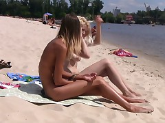 Legal Age Teenager nudists acquire nude and heat up a public beach