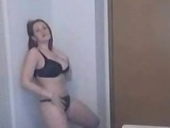 Chesty Latina strips for camera