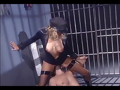 Female in uniform and fishnet nylons fucking