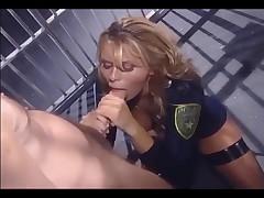 Female in uniform and fishnet nylons fucking