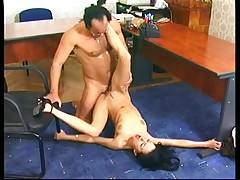 Sexy hot dark brown mother i'd like to fuck likes to receive screwed all over the office in heels