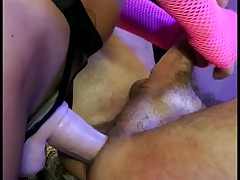 Bitchy blond with diminutive billibongs copulates shaved boy-friend with belt on
