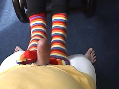 Hot Claire does footjob