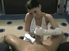White satin gloves girl gives handjob