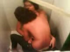 Amateur couple cought fucking in the school toilet