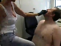 Hot and sexy secretary dominating submissive boss