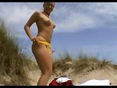 German brun on the beach