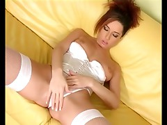 Fishnet nylons and white panty masturbation